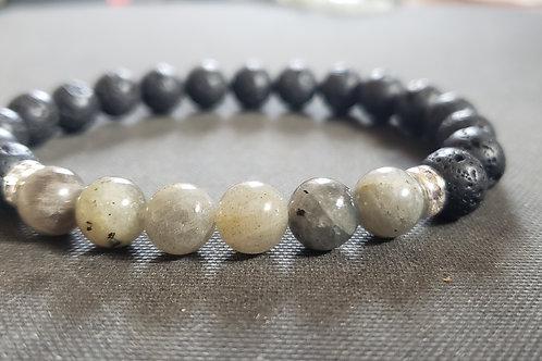 NATURAL Labradorite Lava Rock Bracelet(calm emotions,remove negavitiy,,healer)