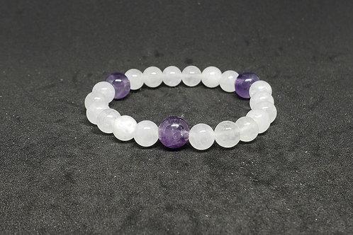NATURAL Amethyst & Crystal Quartz Bracelet(master healer, calm emotions)