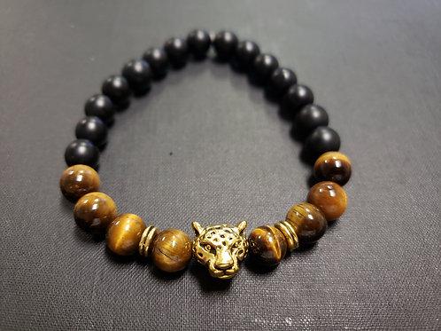 NATURAL STONE-Tiger Eye Onyx Bracelet (Calm emotions,decision & $ Making,Healing