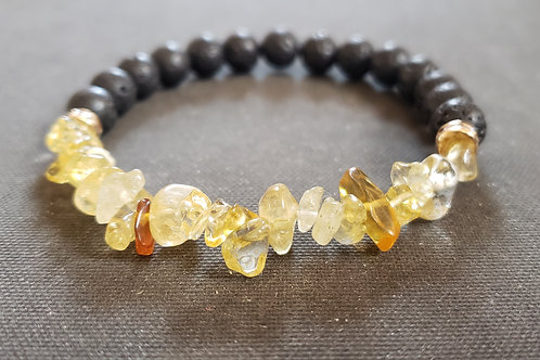 .Citrine Lava Rock Bracelet(Cleanse aura,remove negative energy,health benefits)