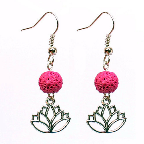 NATURAL Hot Pink Lava Rock Earrings (calm emotions,Health Benefits-See Photo)