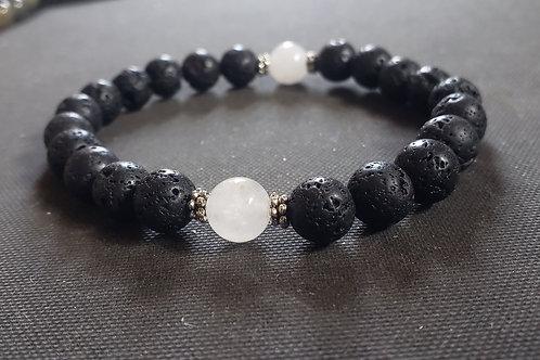NATURAL White Jade Lava Rock Bracelet(Protection, Healing, Health benefits )