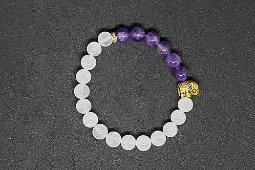 NATURAL Amethyst & Quarz Bracelet (healer,calm emotions,protection)