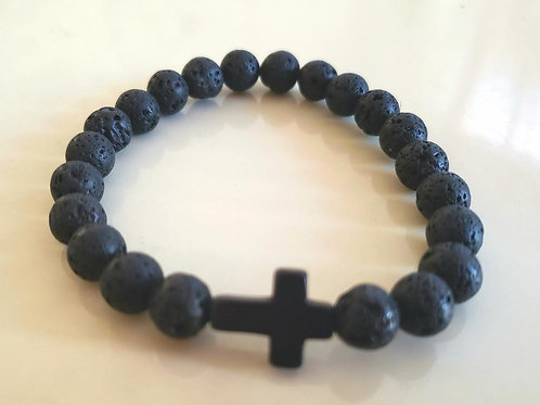 Cross Lava Rock Bracelet (Healing, calm emotions, Health Benefits)