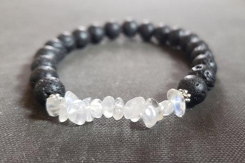 Moonstone LavaRock Bracelet(calm emotion,success in love&business,health benefit