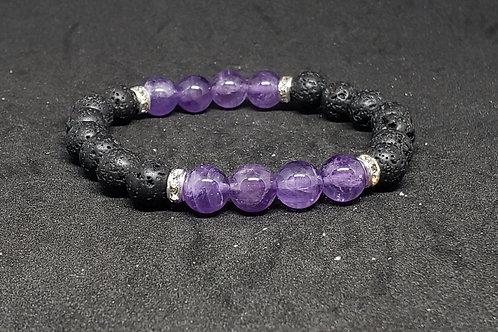 NATURAL Amethyst & Lava Rock Bracelet (Healer,calm emotions,remove Negativity)
