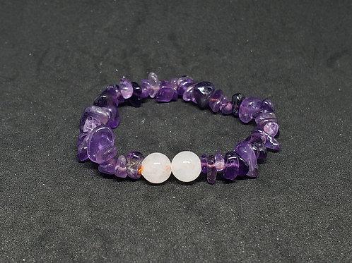 Natural Cleansed Amethyst and Crystal Quartz Bracelet (healer,calm emotions)