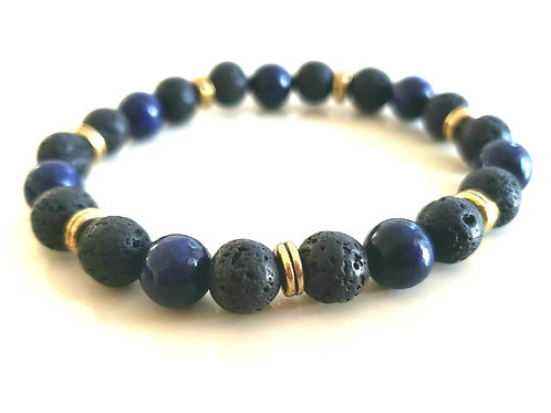:apis Lazuli Lava Rock Bracelet(Remove & Block Negative Energy, Calm Emotions)