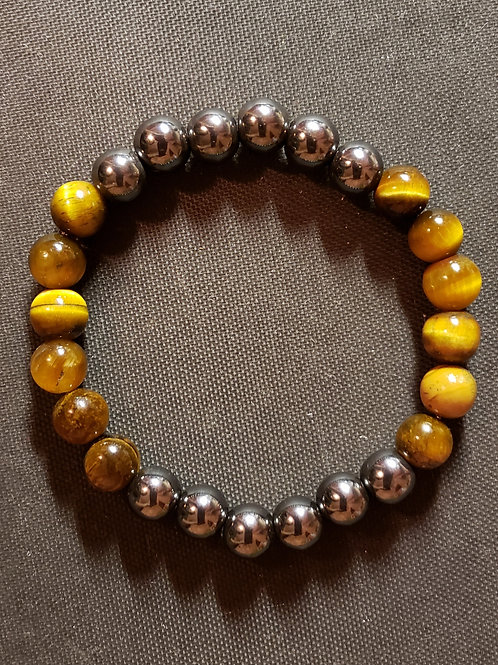 NATURAL Tiger Eye Hematite Bracelet(Help decision & $ Making,healing,health) 8mm