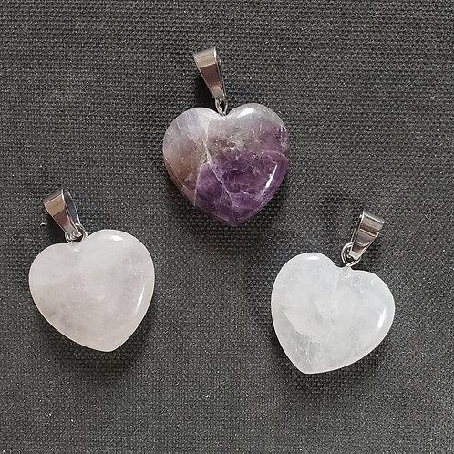 NATURAL Amethyst,Rose Quartz,Crystal  Pendants-healer,calm emotions,Attract love