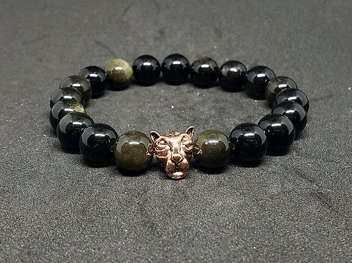 NATURAL Golden Obsidian Bracelet (Romove Negative Energy, Calm emotions,Healing)