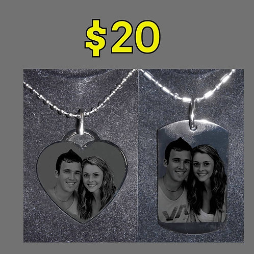 Personalized Dog Tag & personalized Heart Necklace