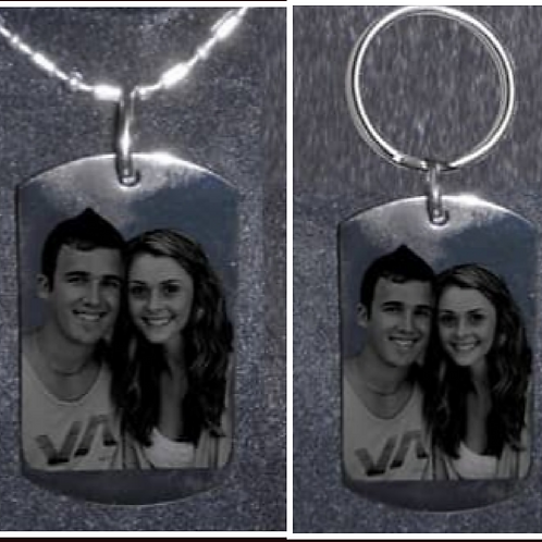 Personalized Gift Set -Dog Tag Necklace & Keychain