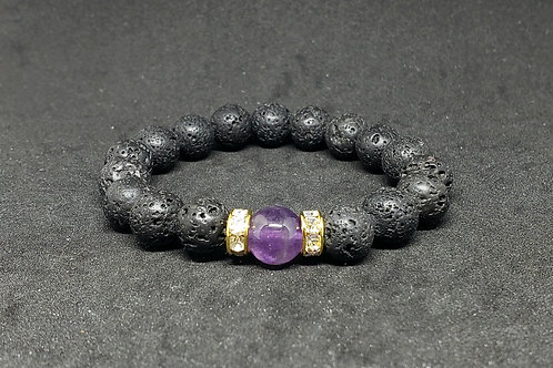 Cleansed AA Amethyst & Lava Rock Bracelet(Calm Emotions,master healer)