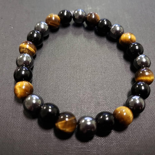 Obsidian Tiger Eye Hematite Bracelet (Protection,$ Making,Remove Negative Energy
