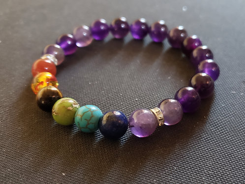 NATURAL 7 Chakra healing Amethyst Bracelet (healer,calm emotions,$ making))