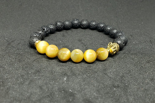 GOLDEN Tiger Eye & Lava Bracelet(Calm Emotions,Decision & $Making,health benefit