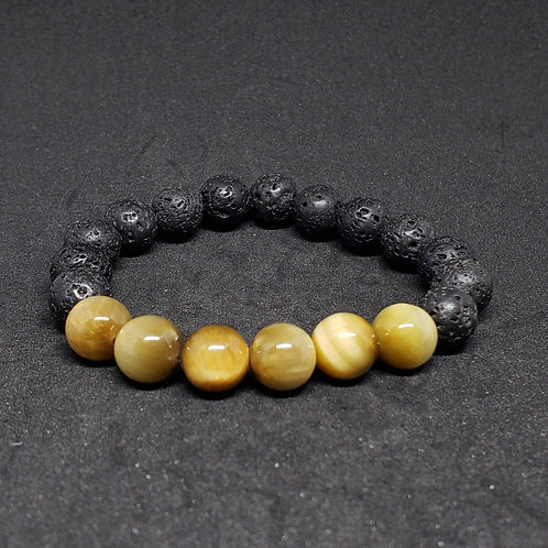 LARGE Tiger Eye & Lava Bracelet(Calm Emotions,Decision & $ Making,health benefit