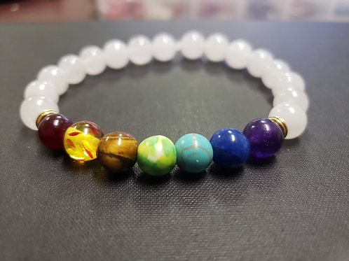 NATURAL 7 chakra Jade Bracelet (Increase Popularity, Keep/Attract Love,Healing)