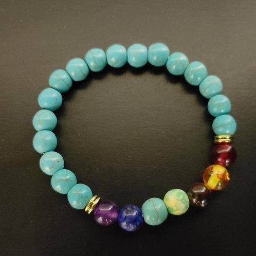 7 Chakra Healing Turquoise Bracelet (healing, calm emotions,remove negativity)