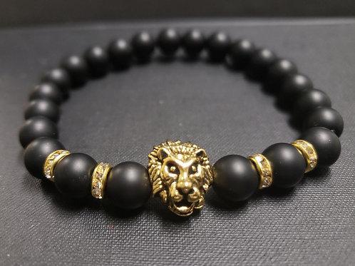 NATURAL Onyx Lion Bracelet (healing, calm emotions, decision & $$ Making)