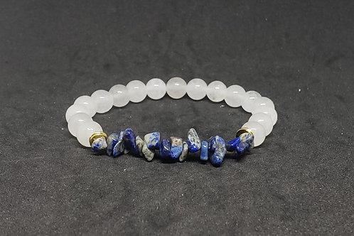 Charged White Jade and Lapis Lazuli  Bracelet (Protection, Remove Negativity))