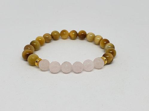 Charged Rose Quartz and Golden Tiger Eye Bracelet (Calm Emotions, Help Love)