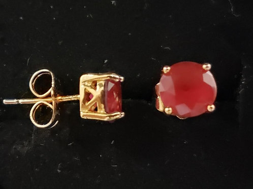 24K Simulated Ruby Gold Filled Stud Earrings - 5 mm