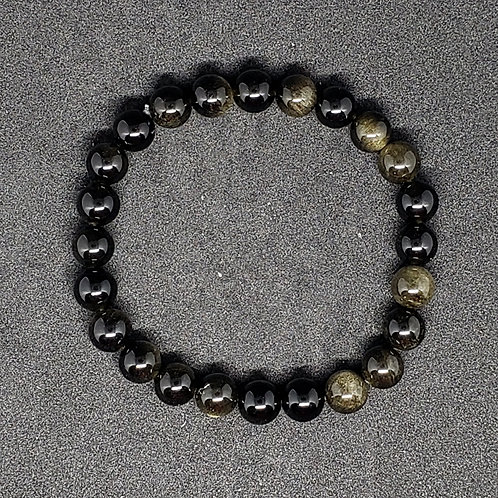 NATURAL Large Golden Obsidian Bracelet (Romove Negatively,calm emotions, healer)