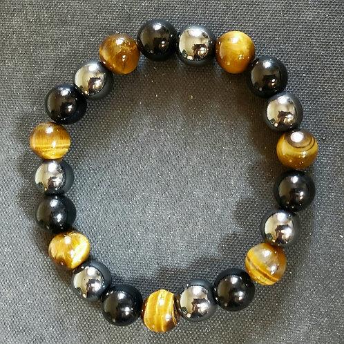 Obsidian,Tiger Eyes,Hematite Bracelet(protection,$ Making,Remove Negative Energy
