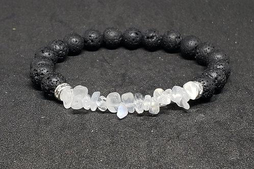 Natural Moonstone & Lava Bracelet (calm emotions,success in love & business)