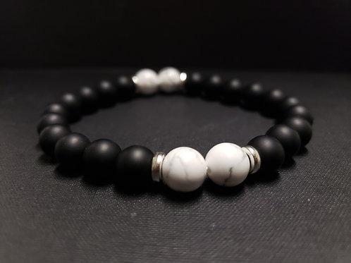 Onyx Howlite Bracelet (remove & block negative energy, calm emotion)