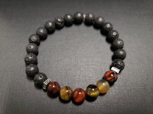 Tiger Eye Lava Rock Oil Essential Bracelet (make right decision,$ making,Health)