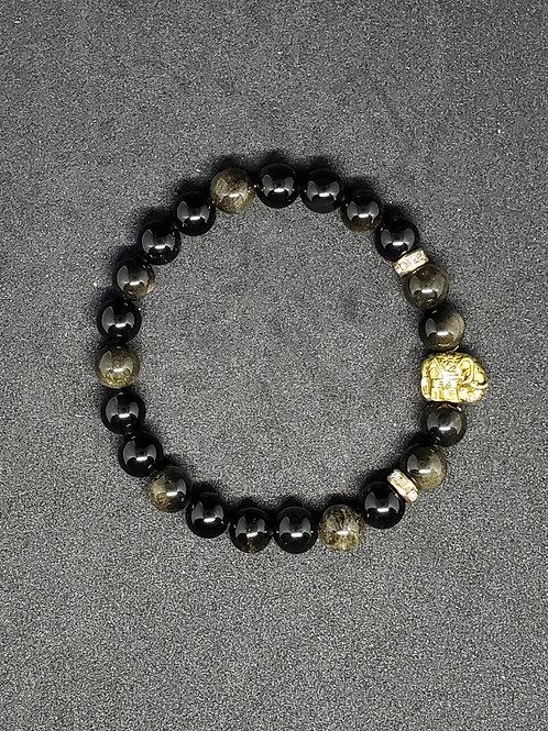 NATURAL Golden Obsidian Bracelet (Romove Negative Energy,calm emotions, healing)