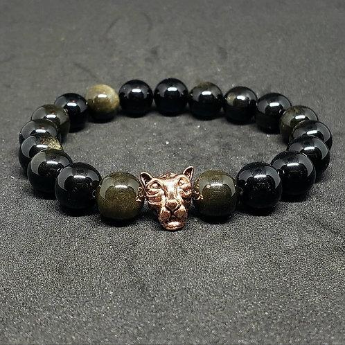 NATURAL Golden Obsidian Bracelet (Romove Negative Energy,calm emotions,healing)