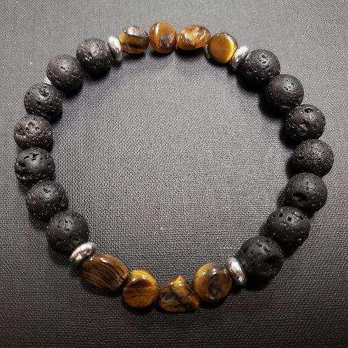 Tiger Eye Lava Rock Oil Essential Bracelet (make right decision,$ making