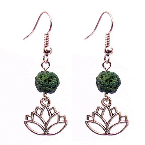NATURAL Green Lava Rock Earrings (calm emotions,Health Benefits-See Photos)