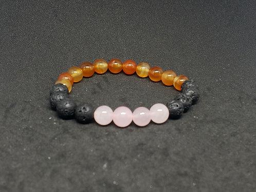 NATURAL Rose Quartz,Lava,Agate Bracelet (calm emotions,help Love,cleanse aura)