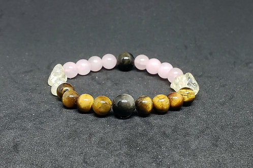TigerEye,Citrine,Rose Quartz,Obsidian,Citrine Bracelet(calm emotions,protection)