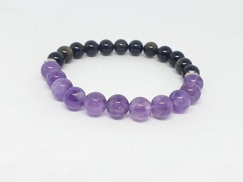 Charged Amethyst,Gold Obsidian Bracelet(healer,remove negativity,calm emotions)