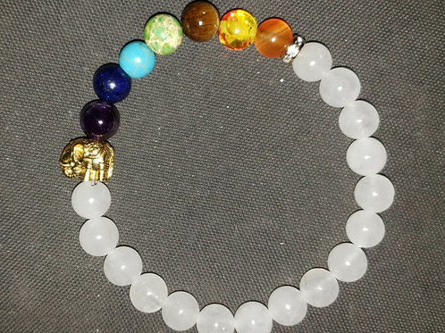 NATURAL 7 Chakra Quartz Bracelet (calm emotions, remove negativity, $ making)