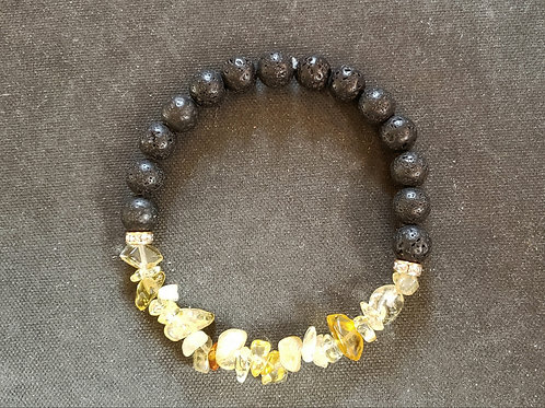Citrine Lava Rock Bracelet(Cleanse aura,remove negative energy,health benefits)