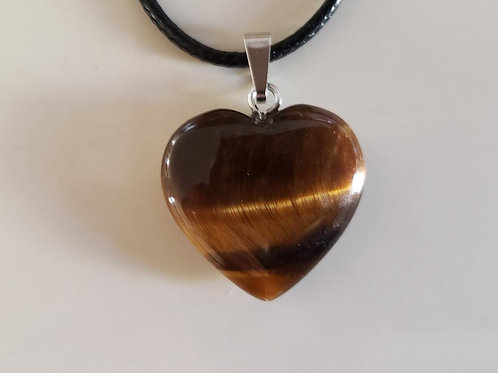 Tiger Eye Heart Necklace (Help Make Right Decision, $ Making, Calm Emotions)