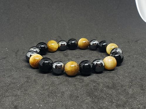 NATURAL Tiger Eye,Obsidian,Hematite Bracelet(Decision &$ making,block Negatively