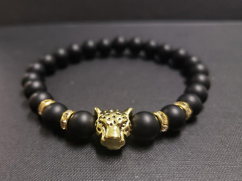 Onyx Leopard Bracelet(healing, calm emotion,decision & $$ Making)