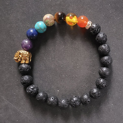 NATURAL 7 Chakra Lava Rock Bracelet (calm emotions, remove negativity, $ Making)