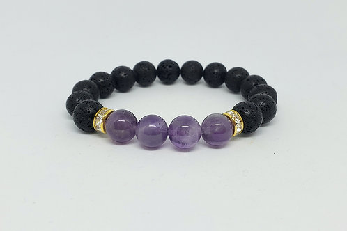 Cleansed AA Amethyst and Lava Rock Bracelet(healer,calm emotions,health benefits