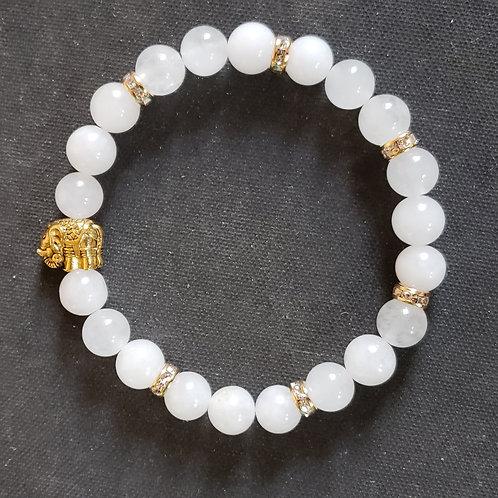 NATURAL Elephant White Jade Bracelet(Protection,Remove negative energy)