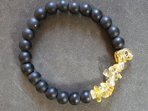 NATURAL Citrine Lava Rock Bracelet (Cleanse aura, remove negative energy,protect