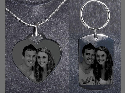 Personalized Gift Set - Heart Necklace & Dog Tag Keychain